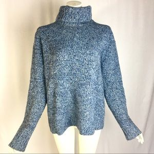 The Limited Blue Turtleneck Sweater Wool Angora